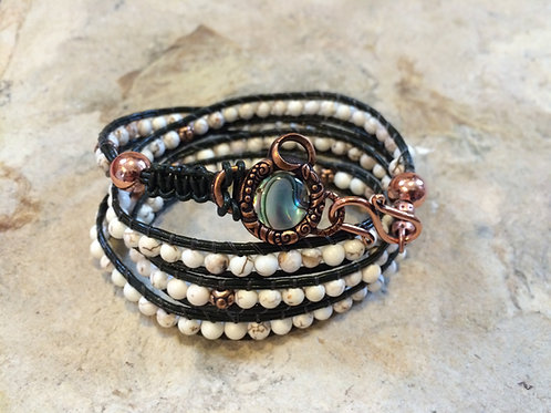 Howlite Leather 4 Wrap Bracelet