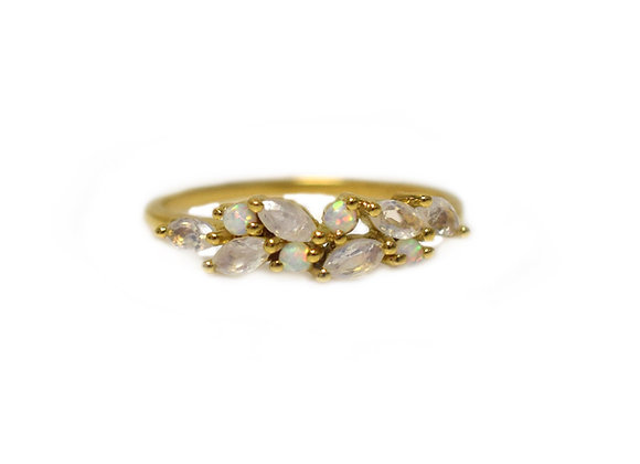 Rainbow Moonstone & Diamond Orchard Ring