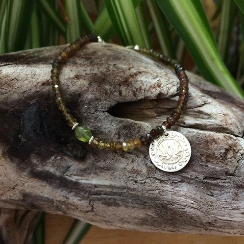 Tiny Lotus Garnet Bracelet