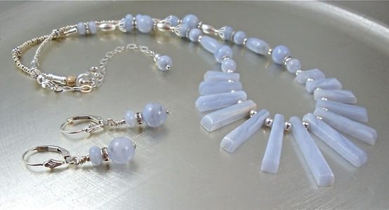 Throat Chakra Necklace with earrings