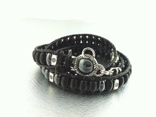 Jet Black Gemstone Leather Wrap Bracelet