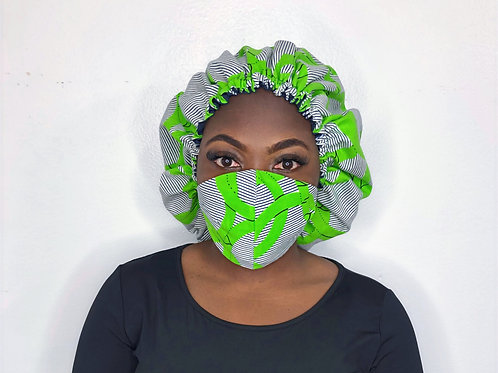 Fashion Print Face Mask with Bonnet -Lime and Salt