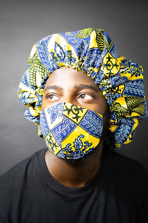 Ankara Print Face Mask with Bonnet- Navy Banana