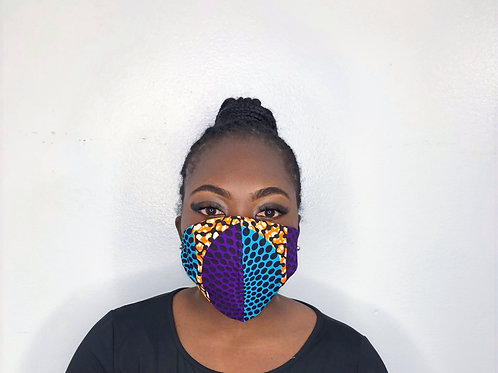 Ankara Print Face Mask -Plum and Daisy