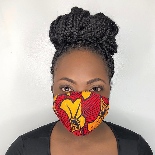 Fashion Print Face Mask - Red Tafeta