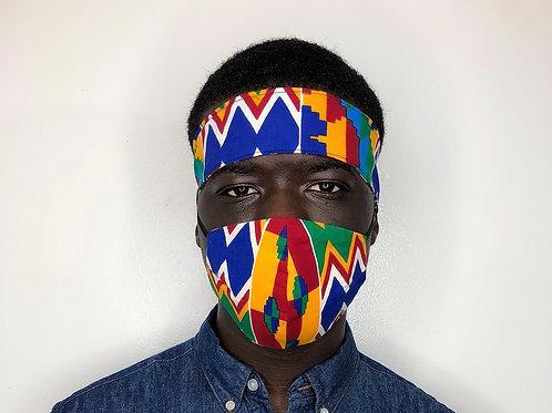 Ankara Head tie with Face Mask