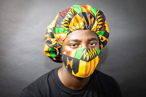 Kente Print Face Mask with Bonnet - Moses