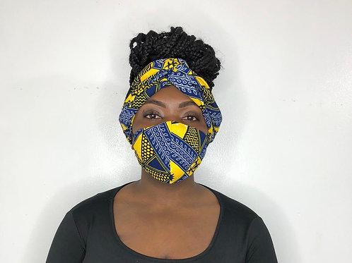 Turban Headband with Face Mask- Navy Banana
