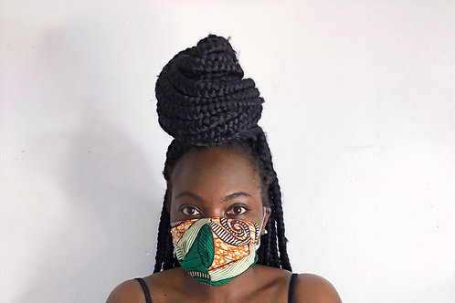 Ankara Print Face Mask - Basil & Butterscotch