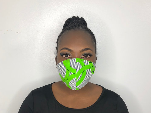 Ankara Print Face Mask - Lime and Salt