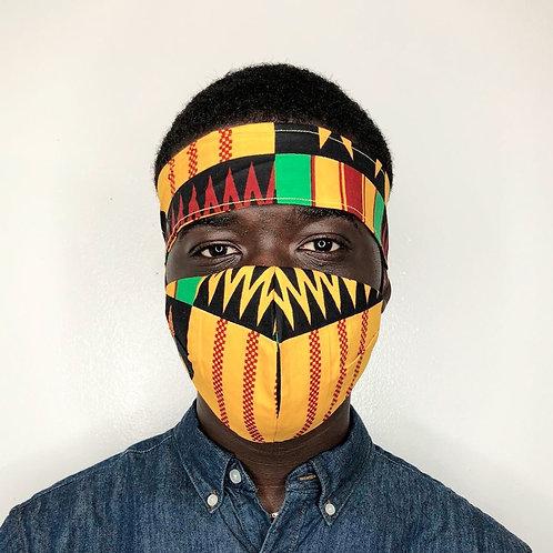 Ankara Head tie with Face Mask- Jack