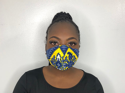 Ankara Print Face Mask - Yellow Crisp