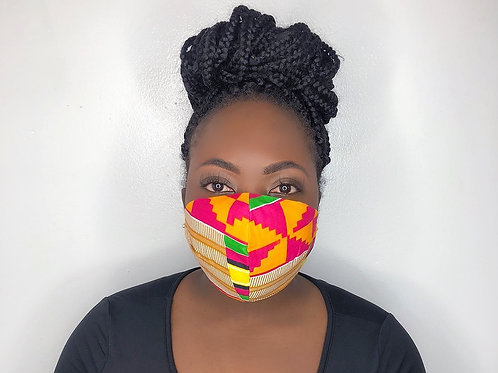 Kente Print Face Mask-Strawberry Banana
