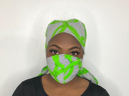 Ankara Print Face Mask with Scrub Cap -Lime and Salt