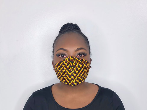 Ankara Print Face Mask -Flamin' Hot