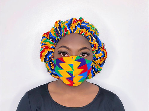 Ankara Print Face Mask with Bonnet- Prismatic