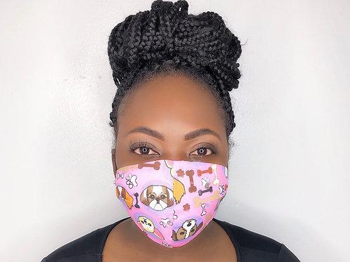 Fashion Print Face Mask -Puppy love
