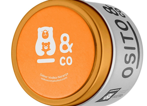 Ositos con alcohol. Lata Vodka-Naranja 70g.
