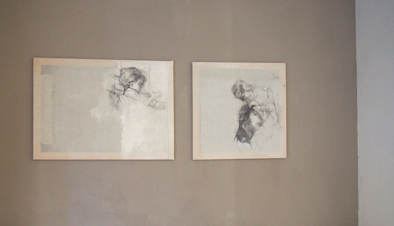 Dreamers - silverpoint onrreclaimed textiles, embroidery,mending
