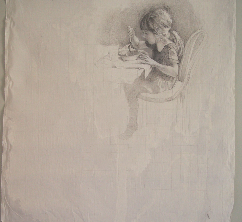 Silverpoint on treated fabric