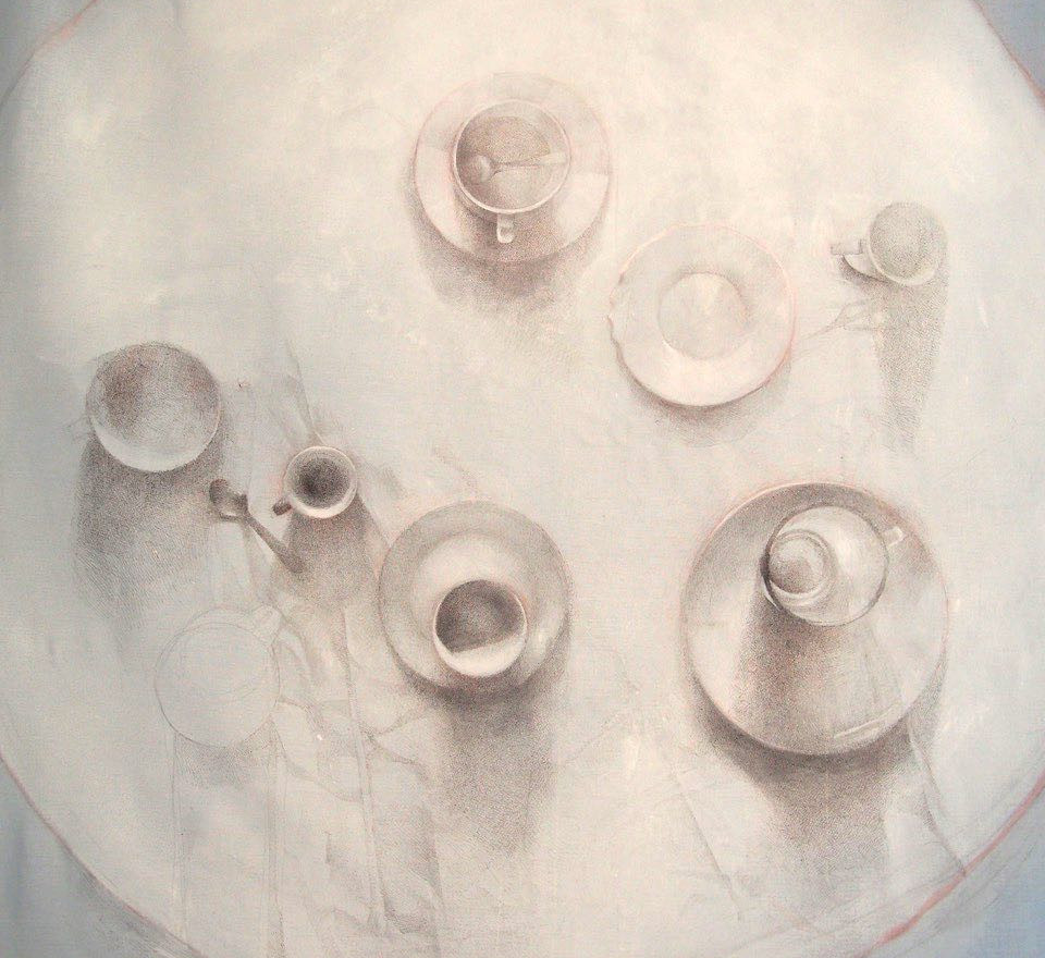 Table - Silverpoint on reclaimed textile