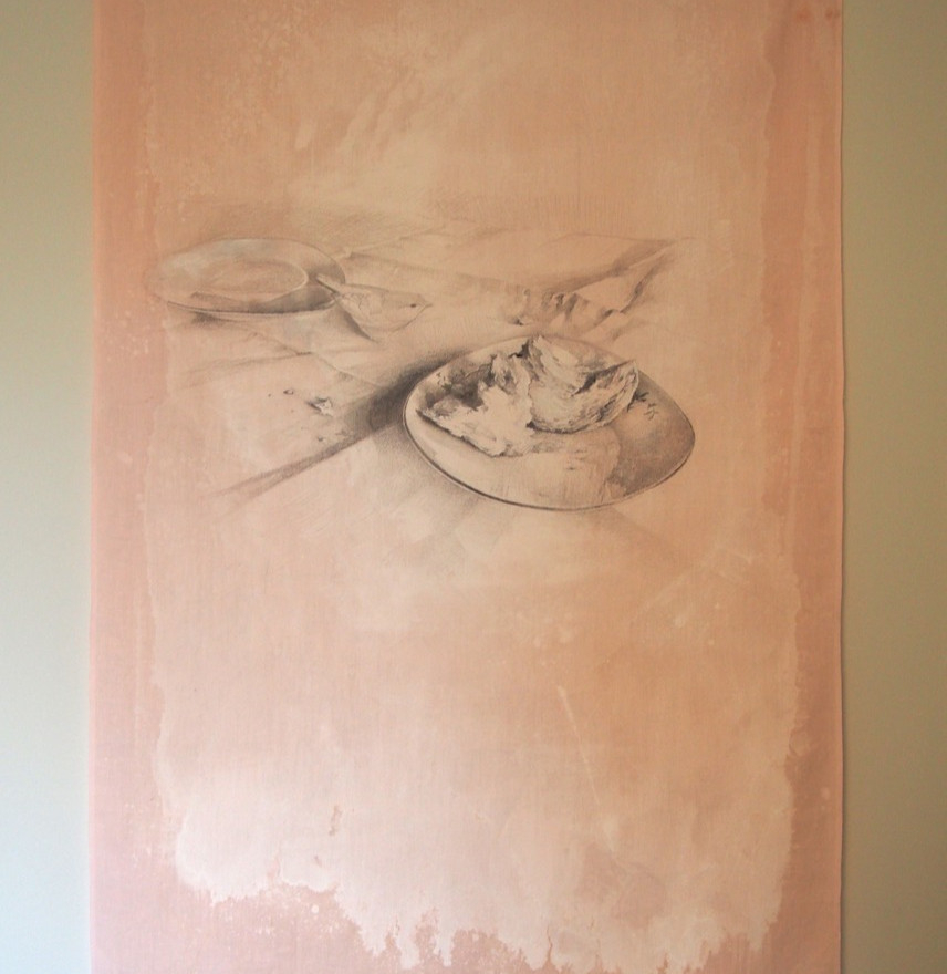 ink and silverpoint on reclaimed linen