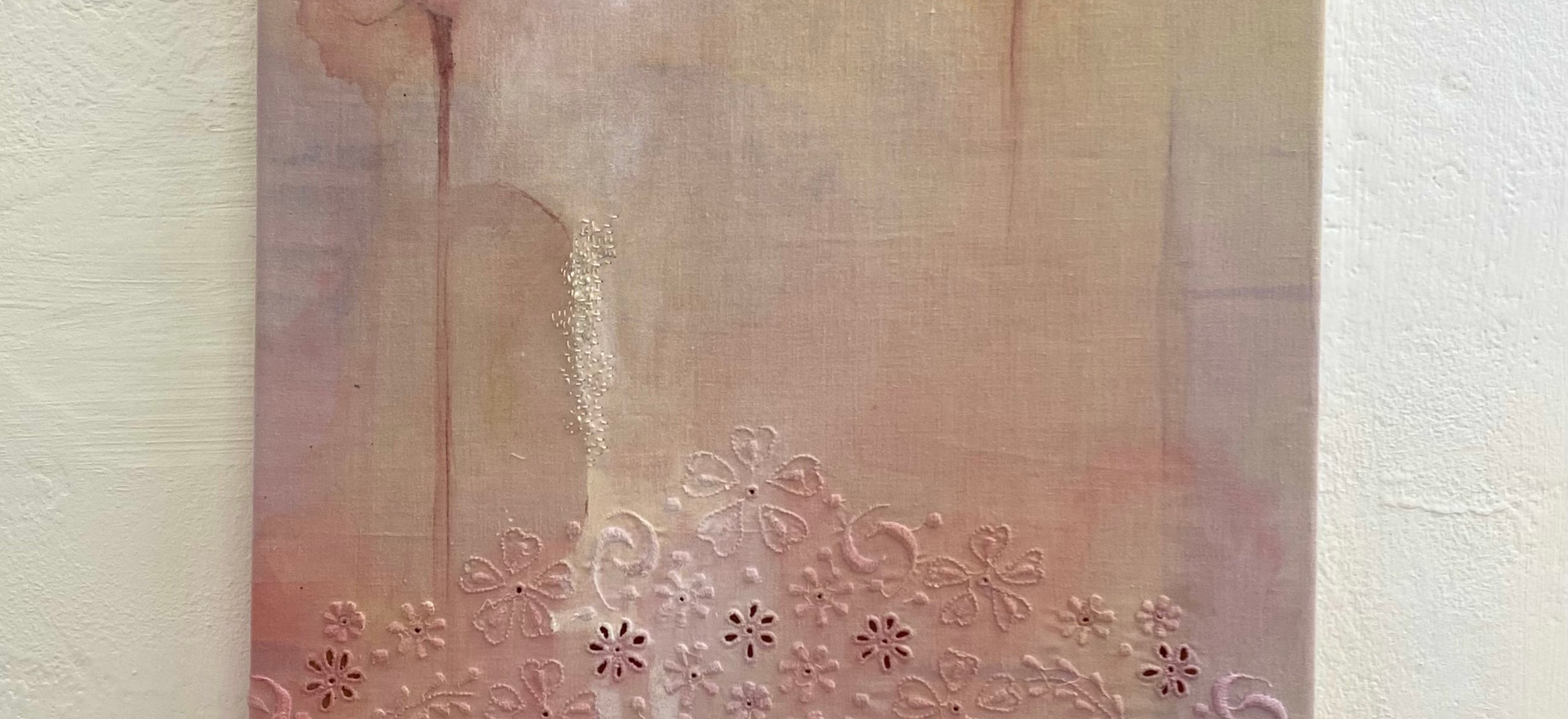 Rituals of care - ink and natural pigments on reclaimed mended linen