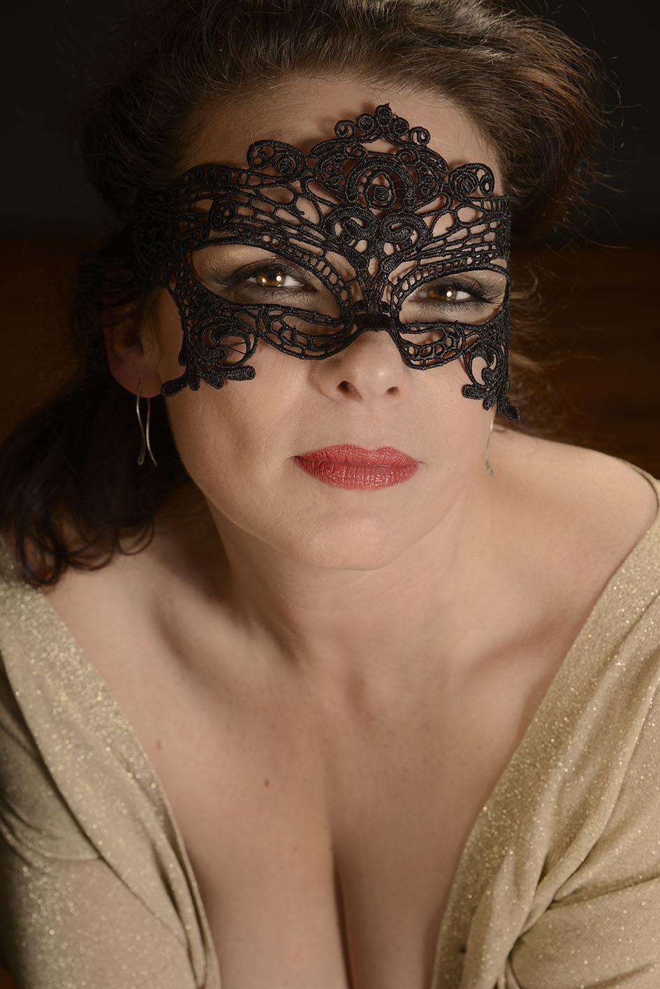 boudoir, gemaskerde vrouw
