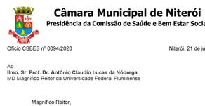 Presidência da Comissão de Saúde da Câmara Municipal cobra da reitoria negociação da insalubridade