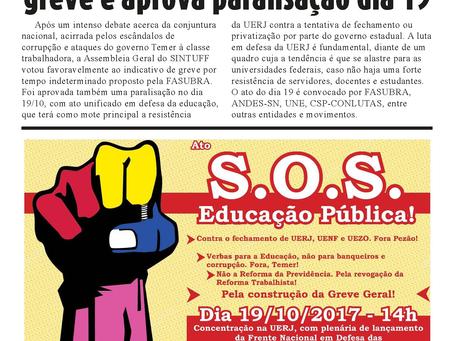 Paralisação e ato em defesa da educação no dia 19