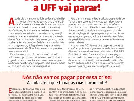 SINTUFF, ADUFF e DCE convocam paralisação unificada dia 14/9