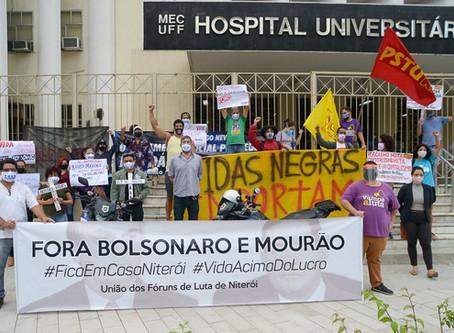 Protesto em frente ao HUAP pauta defesa do isolamento social e insalubridade