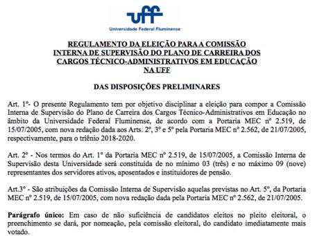 UFF publica edital das eleições para representantes da CIS