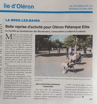 Oléron Pétanque Elite - concours d'été à la Brée les bains 2