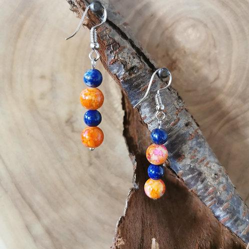 Boucles en pierres naturelles Orange et Bleu
