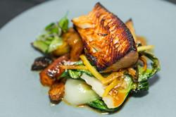 Grilled fish filet dinner