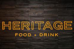 Large Heritage logo signage inside