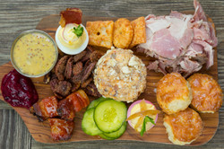 Appetizer platter with cheeses