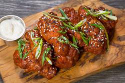 Chicken wings appetizer on wood