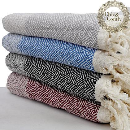 שמיכה בדגם יהלם אפור