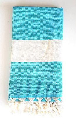 מגבת דגם יהלום טורקיז