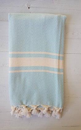 מגבת דגם יהלום גלי בטורקיז בהיר