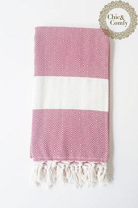 מגבת דגם יהלום אדום