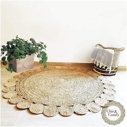 שטיח פרח עגול מחבל טבעי