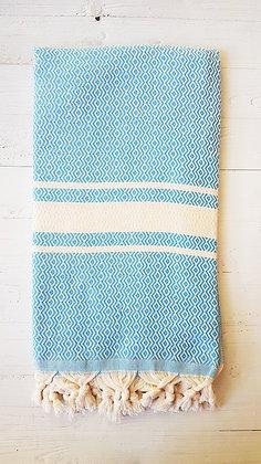 מגבת דגם יהלום גלי טורקיז כהה