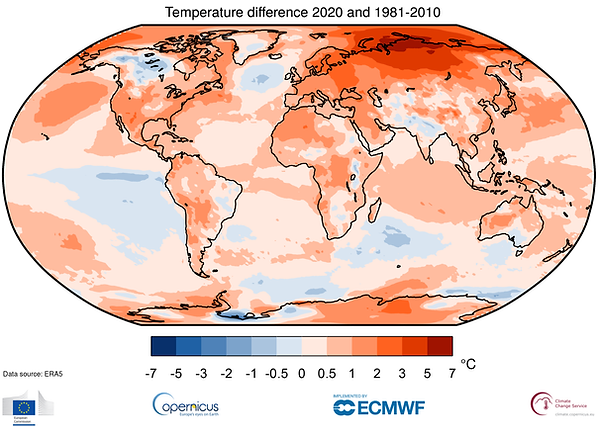 Copernicus 2020 Global Temperature Depar