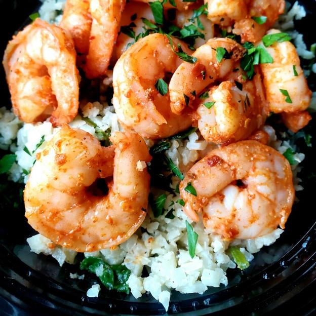 Spicy Shrimp over Creamy Spinach Cauli Rice