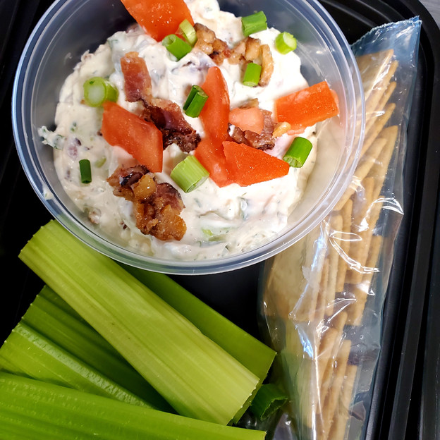 BLT Dip with Almond Flour Crackers and Celery