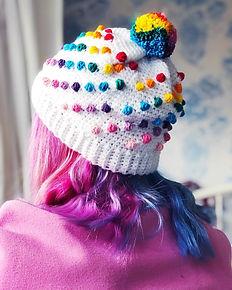 Crochet pattern hat Rainbow bobble beanie by penniesfromdevon