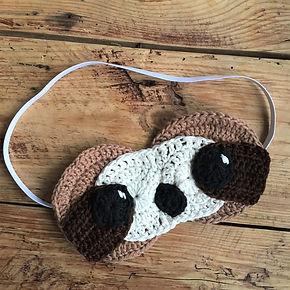 Free Simon sloth slee mask crochet pattern by penniesfromdevon